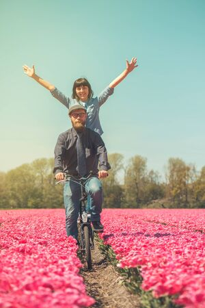 netherlands: Happy loving couple cycling through a typical Dutch tulips field in spring Stock Photo