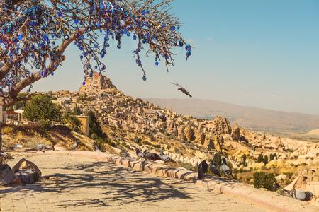 palomas volando: Palomas volando en el valle de las palomas en Capadocia, Turquía. Árbol lleno de amuletos colgando Nazar, objetos especiales en forma de ojos que se cree para proteger contra el mal de ojo.