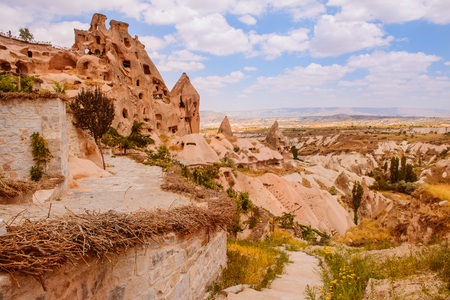 pigeon holes: View on a amazing Uchisar village placed near Pigeon Valley  in Cappadocia area Stock Photo