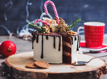 Homemade Christmas cake decorated with gingerbread men, waffles and candy canes on a rustic wood stand Foto de archivo