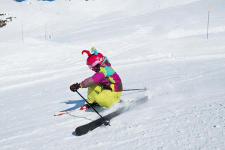 Active kid at a ski resort photo