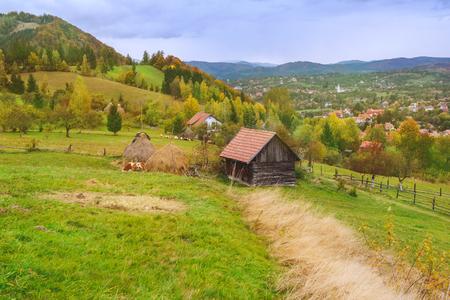 Autumn rustic landscape in Carpathian mountains,  Transylvania, Romania