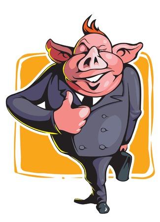 clerks: Man pig cartoon style