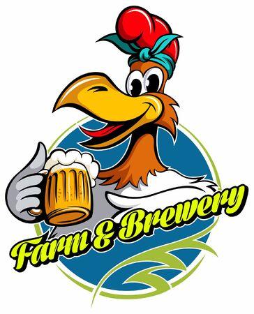 Cartoon style chicken with the beer mug, vector image. Иллюстрация