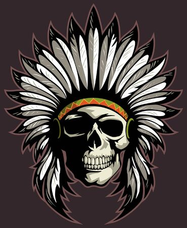 Native American Skull with the head of feathers. Vector skull logo.