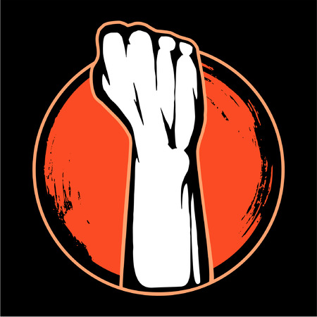 Hand fist raised up freedom sign, vector image.