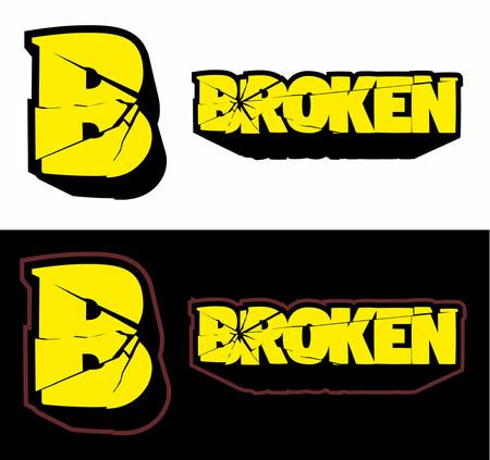 Broken logo, cracked logo, vector image. Иллюстрация