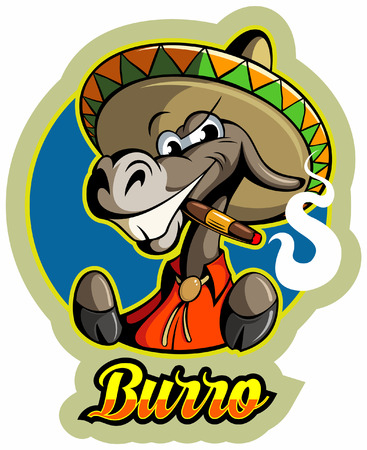 Cartoon style donkey character with the cigar and sombrero, vector illustration.