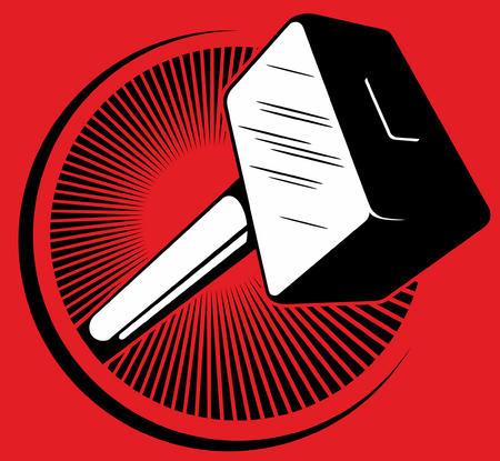 Vector hammer logo with red background.