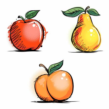 Apple, pear and peach fruits, vector fruits set. Иллюстрация