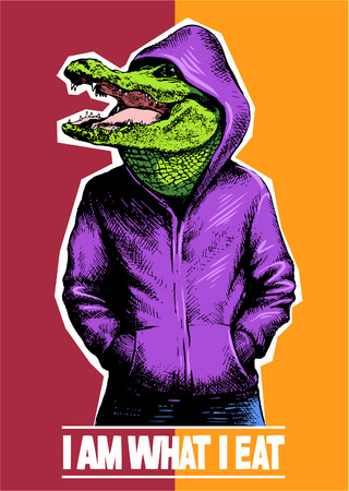 I am what i eat. Man with the hoodie and crocodile head. Vector illustration, vector poster.