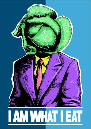 I am what i eat. Man with the cabbage head. Vector illustration, vector poster. Ilustração