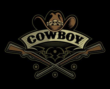 Cowboy hat with the skulls, ribbon and two crossed guns at the bottom, vector cowboy logo. Иллюстрация