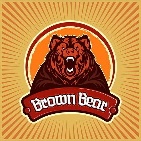 Growling brown bear symbol icon temple design.