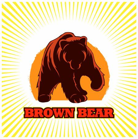 Full-body brown bear, bear vector image. Иллюстрация
