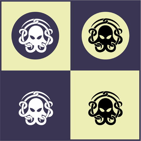 Octopus icon, octopus logo, vector image in black and white silhouette illustration.