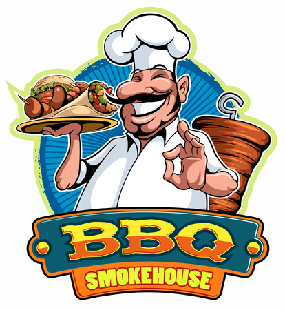 A cartoon smiled mustached cook chef character holding a kebab and grilled meat and doing a perfect gesture, vector cartoon character.