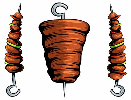 Geïsoleerde diner kebab shoarma afbeeldingen, ontwerpelementen voor logo, etiket, embleem, teken. Vector vlees illustratie. Stock Illustratie