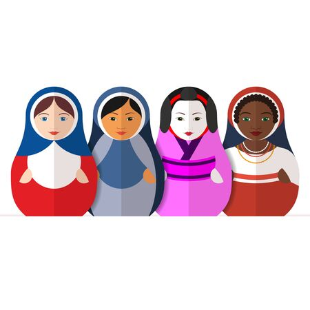 mongoloid: Traditional Russian matryoshka dolls representing different cultures women in different traditional clothes. Symbol of peace, friendship and tolerance. Flat style vector illustration.