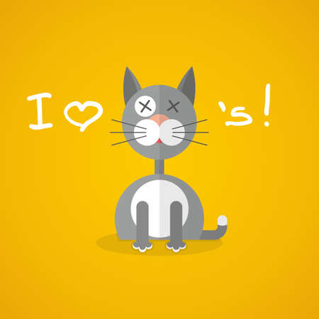 gray cat: flat illustration with gray cat on yellow background