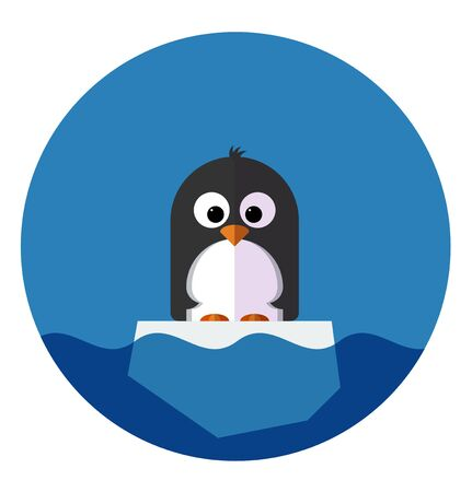 floe: Vector Illustration of Penguin Flat Icon on a ice floe