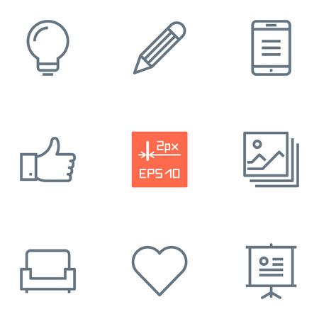 presentation screen: Thin 2px line design vector ai icons.