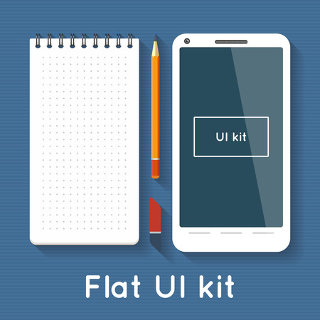 palmtop: Flat vector elements - notepad, pencil, eraser and white smartphone Illustration