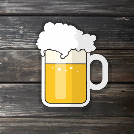 pint: vector illustration for pint of beer on realistic wood background
