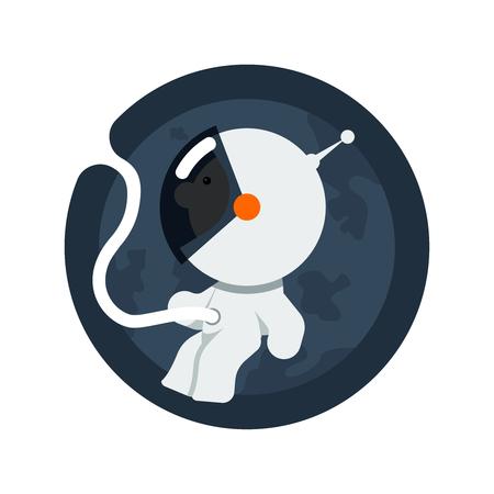 feto: Icono divertido de espacio libre en tramos pequeño astronauta como un bebé en el útero