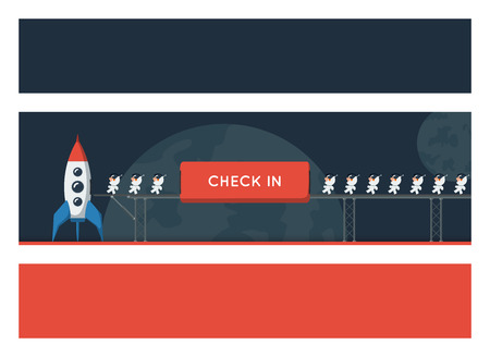 starship: Banners with a space theme. Little funny astronauts on metal bridge loaded into the spaceship and preparing to start. Flat style vector illustration for your title, header or advertising image. Stock Photo