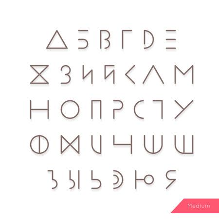 typeface: Cyrillic alphabet typeface vector.