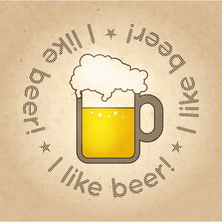 pint: Pint of Beer concept image on craft carton background. illustration.