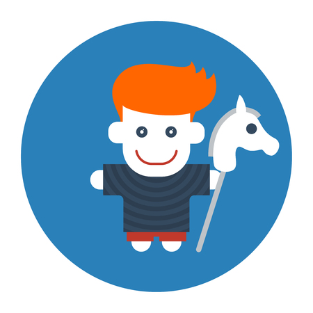 Flat style red-haired boy with toy horse Illustration