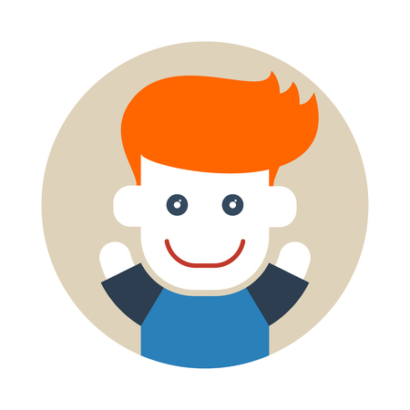 Flat style red-haired boy in circle