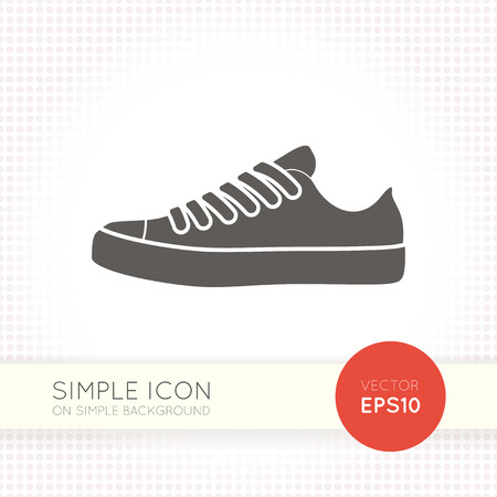 Flat design casual sneaker icon isolated on white background. Running shoes. Sport shoes eps drawing. Ai illustration.