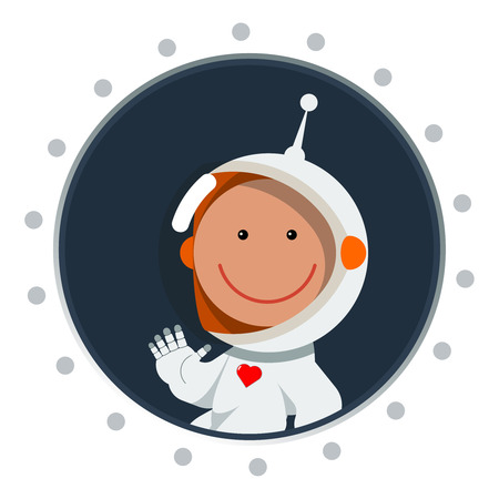 Cute flat style astronaut with heart label. Postcard for valentines day as cosmic love sign. Spaceman eps. Space illustration. Illustration
