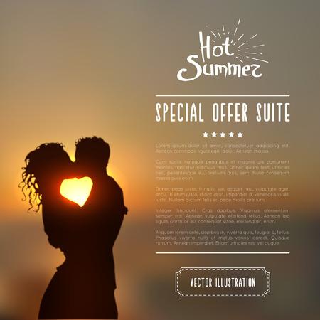innamorati che si baciano: manifesto estate con una silhouette paio di baciare contro un tramonto paesaggio marino sfondo sfocato.