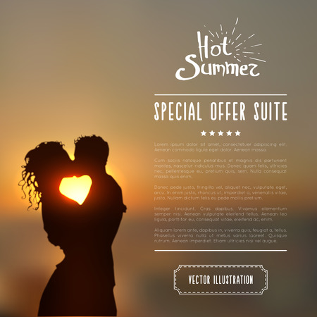 hot couple: Summer poster with a kissing couple silhouette against a sunset seascape blurred background. Illustration