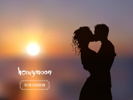 hot couple: Summer poster with a kissing couple silhouette against a blue sunset seascape blurred background. Illustration