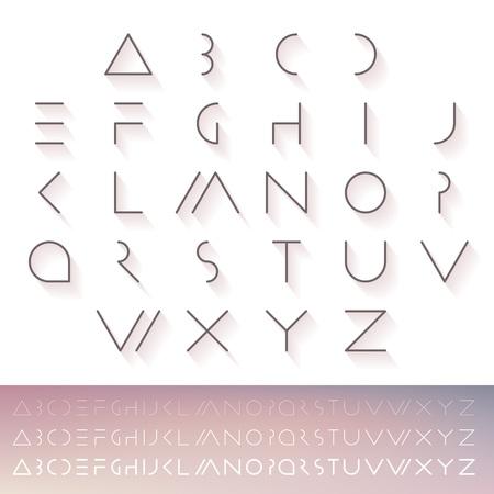 Hipster minimal slim alphabet typeface. Thin line futuristic font. English symbols set. Illustration