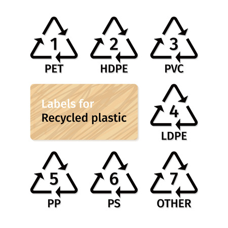 recycling: Labels for recycling plastic types Illustration