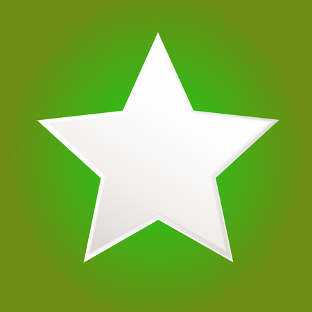 Five-pointed white star isolated on green background