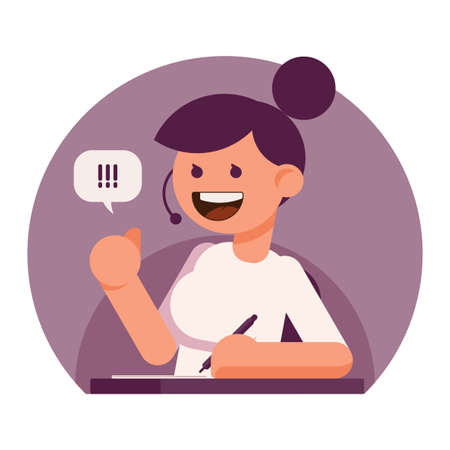 call centre girl: Young pretty girl phone consultant. Simple flat style image for call center, support service or secretary. Business vector illustration