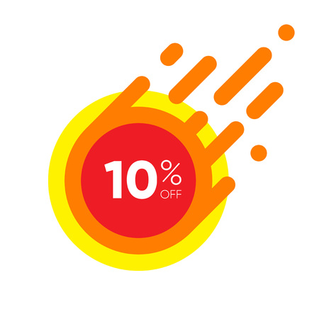 Ten percent OFF Sale Discount Banner. Special offer red label. Flat designed Sticker Illustration isolated on white Background Illustration