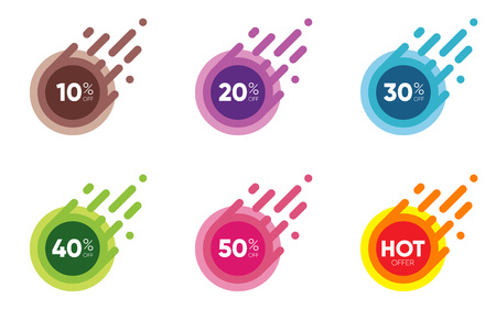 Set of Sale Discount icons; Special offer labels in Flat designed colorful Sticker Illustrations