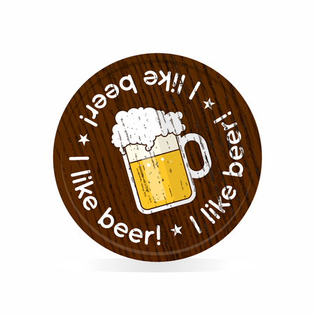 wooden badge for beer fans Vector illustration.