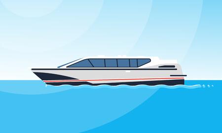 Realistische flache Darstellung der Seitenansicht des weißen Motorbootes auf dem Wasser. Bild auf dem einfachen Hintergrund einer Seelandschaft. Schiff am Meer, moderne Bootsverschiffung im Ozean. Schöne Elite-Luxusyacht.