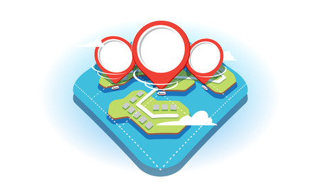 3D flat style illustrated concept with a fragment of a geographical map and red navigation pins on it. The pins show the available water transport in the ponds on the map. Clipart is isolated on a white background for use as an explanation for website, mobile application and other user interface and design.