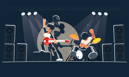 Flat style illustration of show musicians. A modern music band shows a concert on a dark stage in the bright rays of searchlights. A cute and cheeky girl guitarist with a red electric guitar and a mad drummer with a drum set play rock, indie or alternative instrumental music. Vector clipart for use in banners, on the website and other design works.