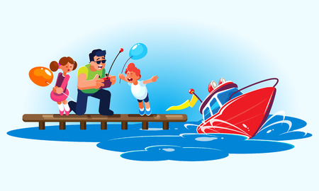 Flat style illustration of a smiling father with admiring children is driving a red radio-controlled model of a modern powerboat with an antenna from the pier. A father with a remote control shows the children a new smart water toy on the water. The red boat rushes through the waves, creating flying splashes. Creative illustration of characters and their family summer leisure isolated on background for use in any design work.